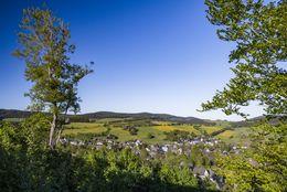 Im Hintergrund einer Baumlandschaft liegt der Ort Grönebach.