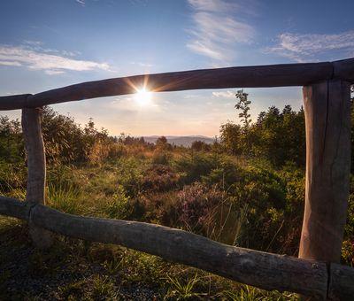 Ein Zaun im Vordergrund zwischen welchem die Sonne hindurch scheint