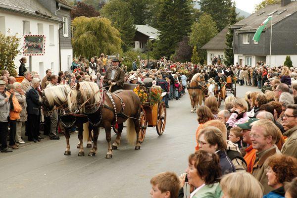 Eine Kutsche fährt bei einer Parade durch einen Ort. Am Straßenrand stehen viele Zuschauer.