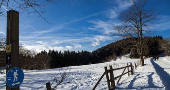 Ein Winterwanderschild an einem einem verschneiten Wanderweg, entlang einer Wiese