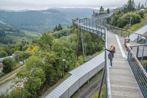 Eine Person steht auf der Panorama Erlebnis Brücke und zeigt in die Ferne