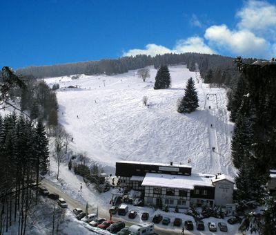 Luftaufnahme von einem Skigebiet