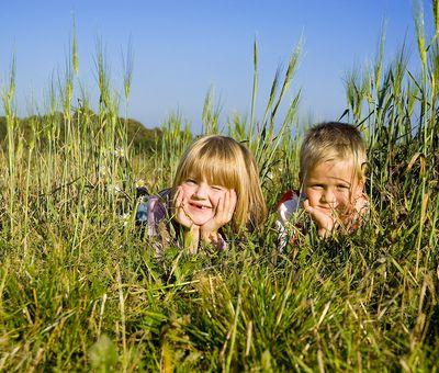 Zwei Kinder liegen bei Sonnenschein in einer grünen Wiese