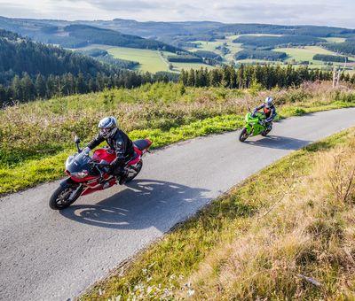 2 Motorradfahrer fahren hintereinander eine schmale Straße hinauf, dahinter Ausblick auf die Waldlandschaft