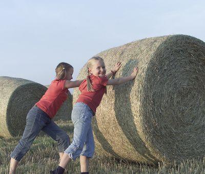 Zwei Kinder stemmen sich gegen einen Heuballen