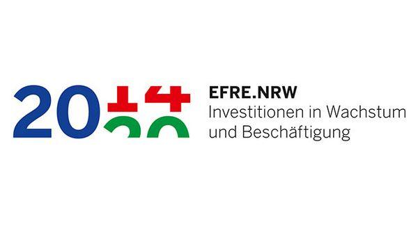"""Logo von EFRE-NRW mit dem Hinweis""""Investitionen in Wachstum und Beschäftigung"""""""
