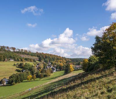 Kleines Dorf inmitten von Wiesen und Wäldern mit blauem Himmel