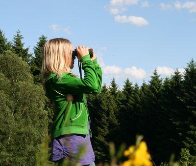 Kind steht auf einer Wiese und schaut mit dem Fernglas in die Ferne