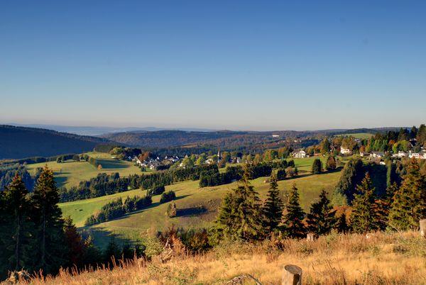 Aussicht über eine hügelige Landschaft mit Wiesen und Wäldern