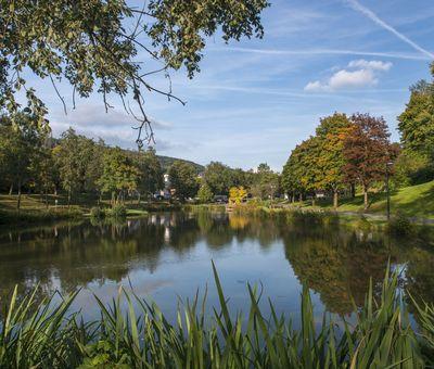 Der See in Elkeringhausen mit bunten Herbstbäumen am Ufer