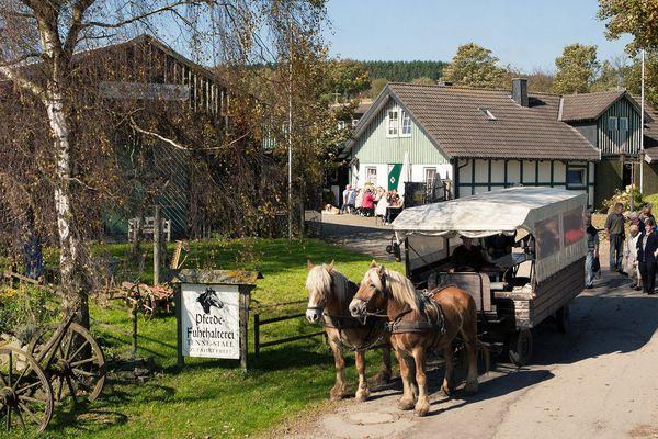 Ein Planwagen, vor dem Pferde gespannt sind, steht auf einem Weg vor einem Haus