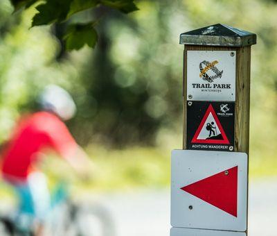 Schild mit einem roten Pfeil als Wegweiser im Trailpark