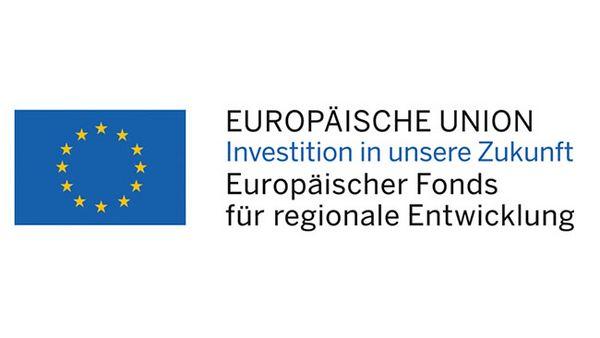 """Das Logo der EU mit dem Hinweis """"Europäische Union - Investition in unsere Zukunft - Europäischer Fonds für regionale Entwicklung"""""""