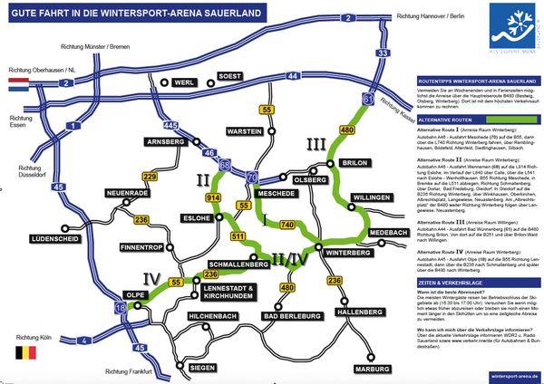 Karte mit eingezeichneten Umleitungen zur Hilfe von Stauumfahrungen